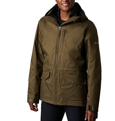 Columbia Women's Plus Size Mount Erie Interchange Winter Jacket, Waterproof and Breathable, Olive Green, 1X