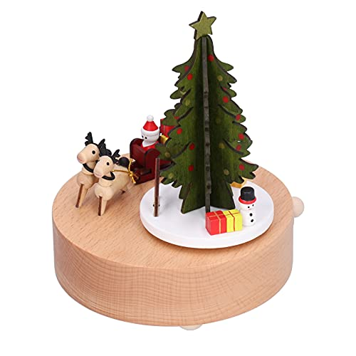 Juguetes mecánicos de Madera, Hermosa música Carrito de Renos navideño Caja de música Madera de Haya para Dormitorio para niños para Sala de Estar