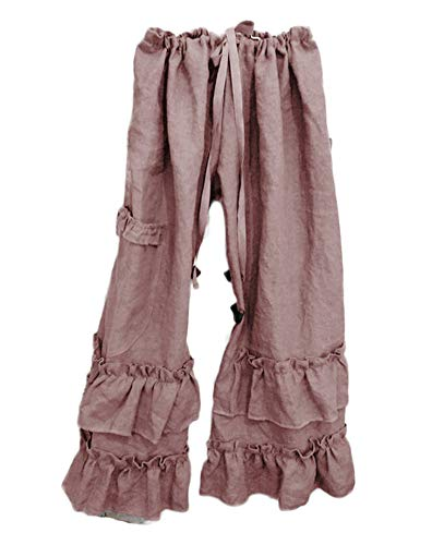 Womens Casual Ruffled Loose Pocket Pants Plus Size Cotton Linen Folds Pants Wide Leg Solid Color Hem Elastic Waisted Trousers (Pink,Medium)