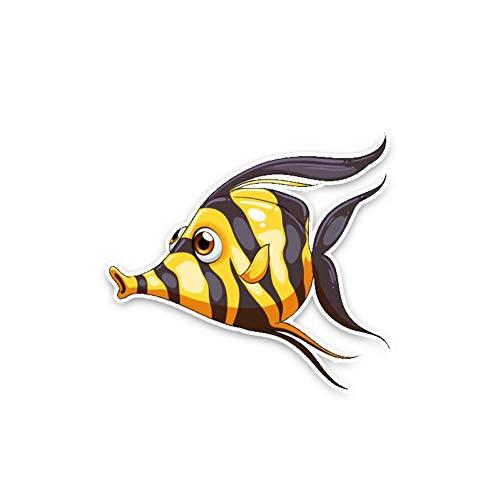CTMNB autosticker 11,3 x 10,4 cm zwart Happy Fish Persoonlijkheid Mooie kwaliteit Decals Mode PVC autosticker dier