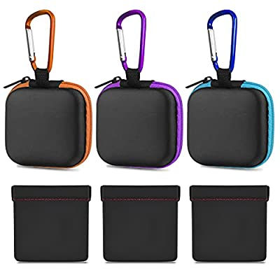 6 PCS Earphone Case Pouch with Carabiner, FineGood Earbud Case Bag Hard Portable Earphone Storage Bag Protective Pouch for Earphone Headphone
