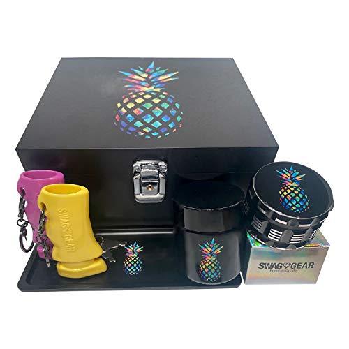 Pineapple Stash Box Combo - Large Stash Box with Lock - Locking Stash Box Kit with Accessories Grinder Stash Jar and Tray (Pineapple)
