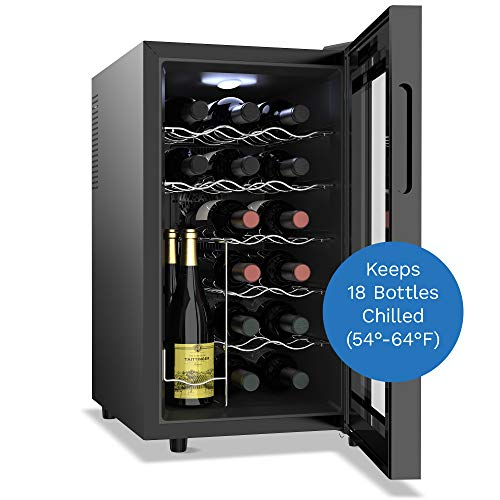 hOmelabs 18 Bottle Wine Cooler - Free Standing Single Zone Fridge and Chiller for Red and White Wines
