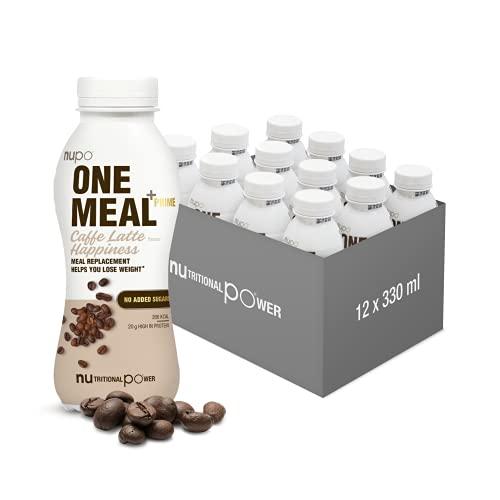 NUPO One Meal + Prime Caffe Latte Happiness – Diätdrink zum Abnehmen I Leckerer Mahlzeitersatz zum Abnehmen I 12 x 330ml I ca. 200 kcal I Ohne Zuckerzusatz I Enthält Nährstoffe, Vitamine & Mineralien