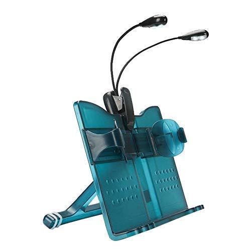 GPWDSN Blauw kinderleesframe leesframe multifunctionele opvouwbare Abs kunststof leesplank met leeslampje, boekensteunen houten