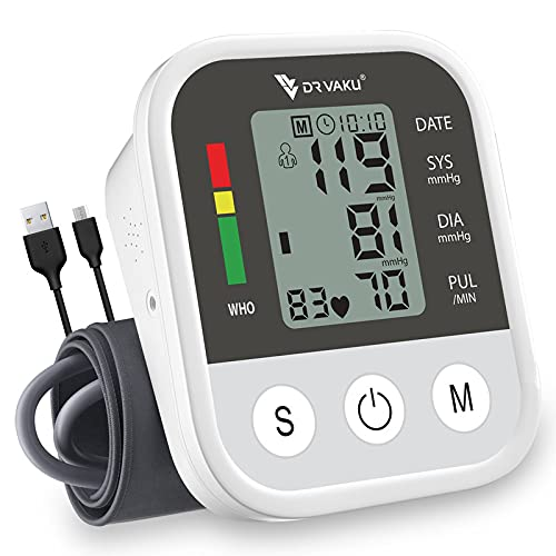 DR VAKU ALL NEW 2021 Blood Pressure Monitor FDA Approved Automatic Upper Arm Machine & Accurate Adjustable Digital BP Cuff Kit-Largest Display -200 Sets Memory, Includes Batteries,Carrying Case-Black