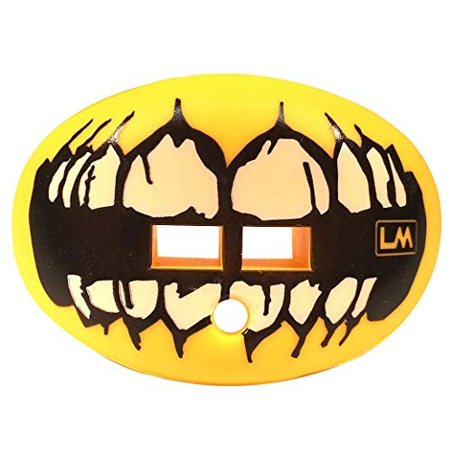 LOUDMOUTHGUARDS Loudmouth Football Mouth Guard | Skull Teeth Design (Multiple Colors) Adult & Youth Mouth Guard | Mouth Piece for Sports | Pacifier Lip and Teeth Protector (Skull Teeth - Yellow)