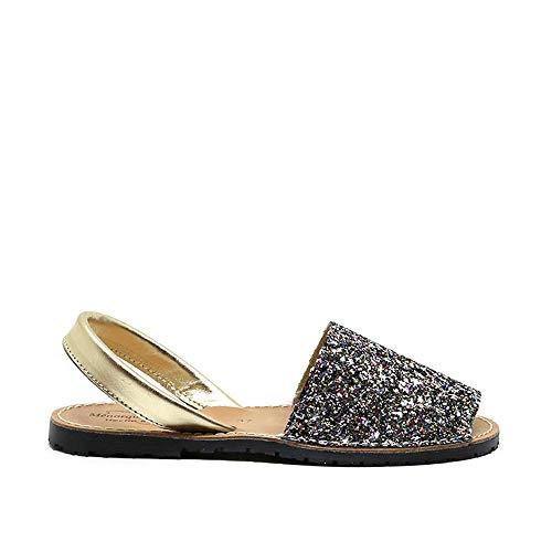 Zapatos Menorquina Piel Cuero Glitter Brillante Purpurina Hecho en España Sandalia