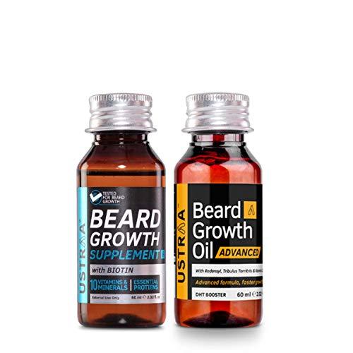 USTRAA Beard Growth Booster Pack - Ustraa Beard Growth Oil ADVANCED 60 ml and Ustraa Beard Growth Supplement 60 ml