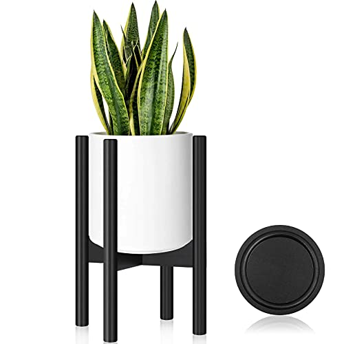 Hyenikoo Plant Stand - Adjustable Indoor Plant Stand, Plant Holder, Mid Century Corner Plant Stand with Tray - Fit 8 to 12 Inches Pots (Pot Not Included) - Bamboo Wood Black
