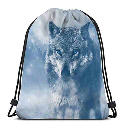 Elsaone Wolf Predator Animal Kordelzug Rucksack Sporttaschen String Bag Sack Cinch Tote Gym Rucksack Bulk für School Gym