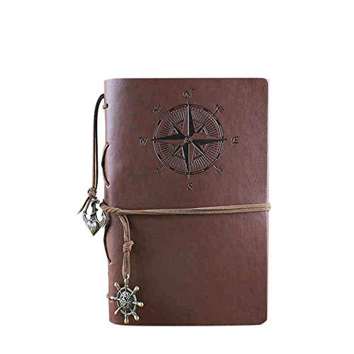 MOPOIN Cuaderno de cuero para viaje, cuaderno retro en blanco con colgantes retro, cuaderno recargable para mujeres y hombres, regalos (marrón, 23,5 x 16,5 cm)
