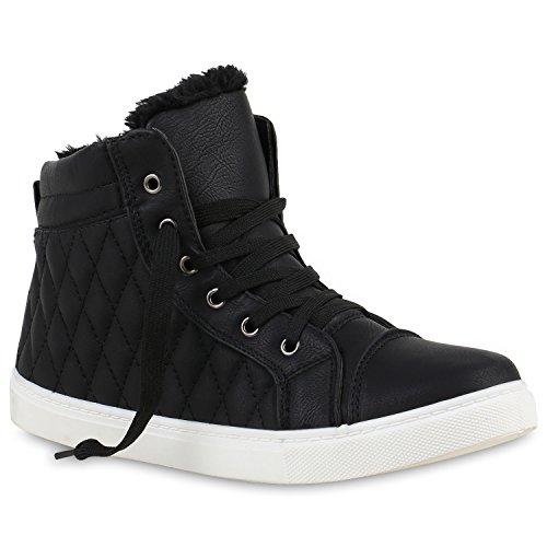 stiefelparadies Sneakers High Damen Warm Gefüttert Winter Turn Schnallen Schuhe 124982 Schwarz Gefüttert Camiri 36 Flandell