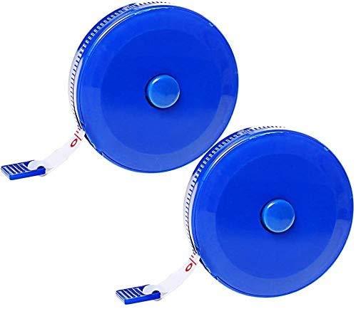 nuoshen 1.5 Mètres Ruban à Mesurer Souple, 2 Pack Ruban Couture Mètres à Ruban Rétractable Mètres de Couture (Bleu)