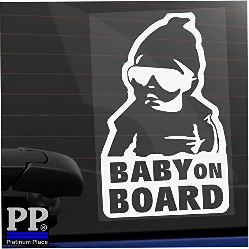 Platina plaats 1 x baby aan boord Carlos Hangover EXTERNE getinte auto Window Sticker leuk kind kinderen zelfklevende wit duidelijk Vinyl Tint teken vrachtwagen van voertuig