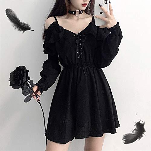 Mcttui Vestido Lolita Lolita Vestido Streetwear Shirt Vestido de Mujeres Más Tamaño Tamaño Lace Up Negro Otoño Vestidos de Cintura Altos Off Hombro Ropa de Manga Larga (Color : Black, Size : Large)