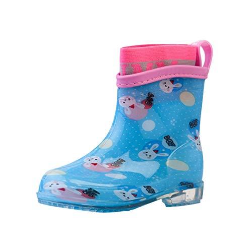 Tookang Bebé Niño Niña Ligero Bota de Lluvia Calzado Botas de Nieve Zapatos de Agua de Lluvia de Goma Conejito Azul Cielo (Manga De Algodón)