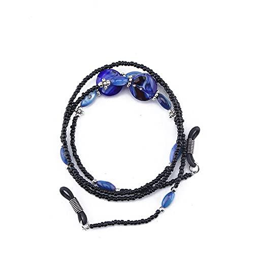 Cordón para gafas de lectura a la moda para mujer Beads Beads Gafas de sol, cuerdas de gafas de vestir negras