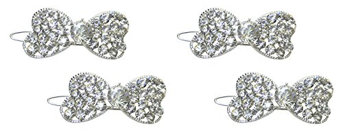 Set of 2 Pairs of Crystal Bowtie Barrettes with Snap-On Clip for Thin Hair U86350-1722-2cc by Bella