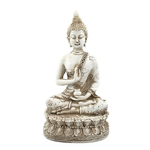 ornerx Thai Sitting Buddha Statue for Home Decor Ivory 6.7'