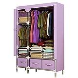 LYLY Armario portátil para ropa de armario, organizador de almacenamiento de tela transpirable, fácil de montar, resistente durabilidad, ropa de dormitorio, armario (color: morado)