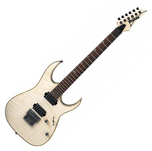 Ibanez RG721FM-NTF Premium E-Gitarre (inkl. Koffer und Multitool, Premium Modell, Palisander Griffbrett, Offset Pearl Dot Inlays, D\'Addario Saiten, Flamed Maple Decke, Korpus aus Linde) Natural Flat