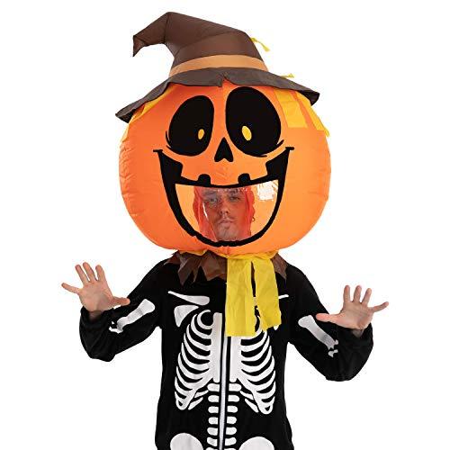Spooktacular Creations Pumpkin Scarecrow Bobblehead Inflatable Costume Air Head Mask Halloween Costume - Adult Unisex One Size (Pumpkin Scarecrow)