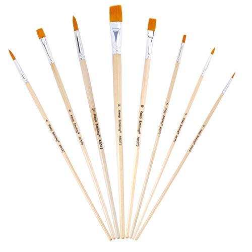 ISIYINER Pennelli Pittura Professionali Dipingere Manico Lungo Spazzole per Acquerello Acrilico Gouache Pittura Ad Olio Pittura Facciale 8 Pezzi