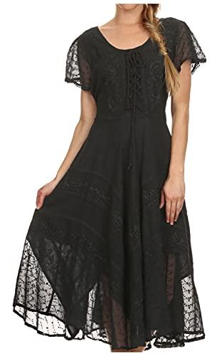 Sakkas 1322 Marigold Embroidered Fairy Dress - Black - S/M