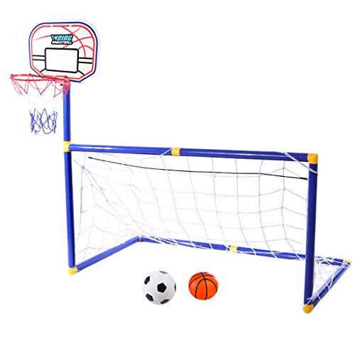 Batop Mini Fußballtor Kinder, 2 in 1 Basketballkorb und Fußballtor Kinder mit Ball und Pumpe, Fußballtor Indoor Outdoor Garten Spiele für Kinder - 87x88x45cm
