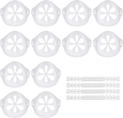 3D Maskenhalter, 12 Stück+4 Silikon Maskenhalterung Mundschutz Mehr Platz für bequemes,Atmen Innenhalterung Lippenschutz (Silikon Transparent)