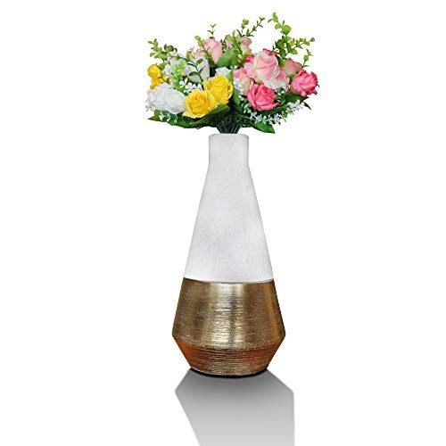 Vase weiß golden, modern, schmal und groß. Esstisch Tischdeko, Blumenvase fürs Wohnzimmer.