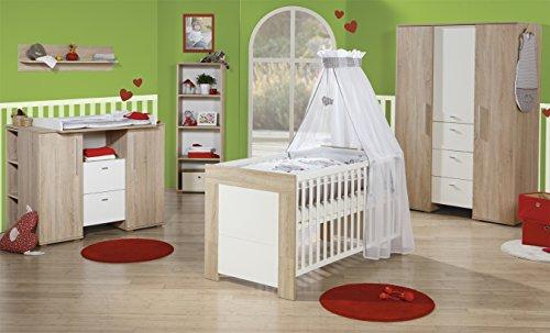 roba Kinderzimmer Daniel, Komplettzimmer 3-teilig mit Babybett 70x140 cm, Wickelkommode und 3-türigem Kleiderschrank, Babyzimmer Sparset