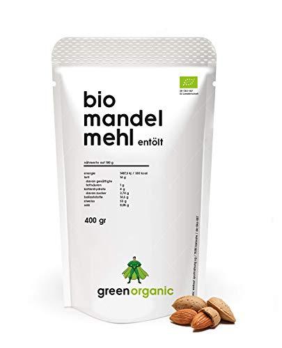 Farine d'Amande Biologique, Premium, Blanc, Idéale pour l'alimentation Low Carb, Sans Gluten, Vegan, Déshuilé, Riche en protéines, Riche en Fibre, Paleo Superfood, 400g