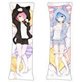 Rem Ram - Re Zero:Starting Life in Another World Anime Hugging Pillow Case Cover Gifts 59in x 19.6in Long Pillow Case Japanese Textile & Smooth Knit Anime Fans Bed Cushion Decor