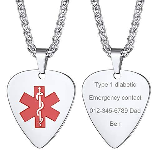 Supcare Cruz Roja Alerta Médica Collar ID Acero Inoxidable Colgante ID Joyería Funcional de Hombres y Mujeres para Casos Emergencia Personalización Gratis Corazón/Redondo/Escudo/Cruz/Ovalado/H