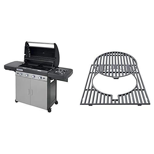 Campingaz 4 Series Classic LSG Gasgrill, BBQ Grillwagen mit 4 Edelstahlbrennern und Seitenkocher, Standgrill mit Deckel und Thermometer & Culinary Modular Grillrost aus Gusseisen
