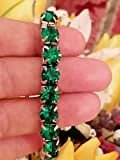 Emerald Green Tennis bracelet for women HANDMADE18kt White GOLD Jewelry May birthstone Swarovski Crystal Birthday Gift jewellery Braclet Bangle present for Mother Auntie Mom Mum Girlfriend Teacher cz