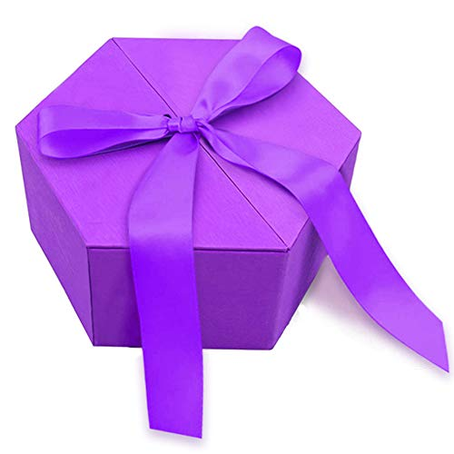 Johouse Gift Box, 8 inches Large Purple Gift Box, with Cover Ribbon and Lafite for Wedding, Christmas Gifts, Valentines Day …