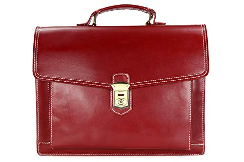 BELLI Design Bag D ital. Leder Businesstasche Arbeitstasche Messenger Aktentasche Lehrertasche Laptoptasche Unisex - 40x30x12 cm (B x H x T) (Bordeaux)