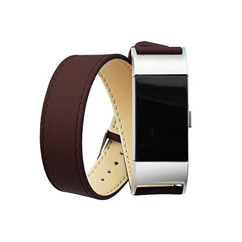 Preisvergleich Produktbild PINHEN Lederarmband Kompatibel für Fitbit Charge 2 Armband - Klassische Echtleder Erstatzband Metallverbinder für Fitbit Charge 2 (Double Brown)