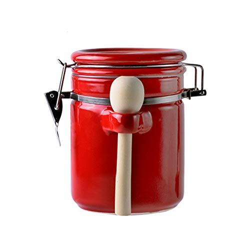 OISII Porzellan-Kaffeedose mit Ventilblöcken Teedosen Puder Süßigkeiten Bohnen, Frischhaltedosen Gewürzbehälter mit Deckel Löffel, Schwarz (Rot, 1000ml)