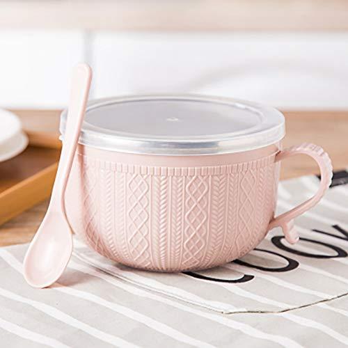 Tazón de fideos instantáneos con tapa y asa, recipiente de acero inoxidable para arroz, cuenco de sopa, doble aislamiento,...
