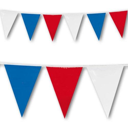 Banderole de décoration à fanions Rouge Blanc et Bleu grande taille - 7m de long