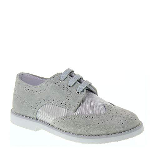 Zapatos de niño para comunión, novios o ceremonia, en color gris. Gris...
