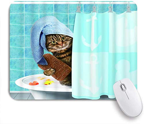 Minalo Gaming Mouse Pad Non-Slip Rubber BaseFunny Bathing Cat Cute Animal Lovely Kitten with Towel Duck Toys in Bathtub for Pet Loverfor Computer Laptop Office Desk95 x 79in