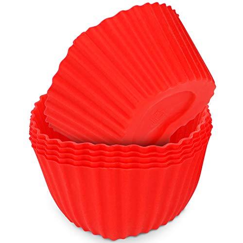 MoNiRo 6er Pack Silikon Muffin Herzform Rot - Wiederverwendbare Backform aus Silikon - Herz - Muffinform – Cupcake - Silikonbackform - Cupcake Förmchen - Herzbackform - Silikonform - Hochzeit