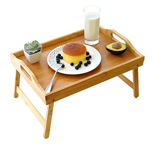 Bamboo Bed Tray,Breakfast Tray with Folding Legs Serving Tray with Carrying Handles Portable Lap Tray Lightweight Decorative Tray Food Tray for Breakfast in Bed,Reading or Working