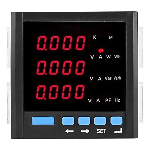 Dreiphasen-Spannungsmessgerät, Dreiphasen-Messgerät, Digital-LED-Dreiphasen-Amperemeter Voltmeter Multifunktions-programmierbares Messgerät Schwarzes elektrisches Prüfgerät Multifunktions-Messgerät