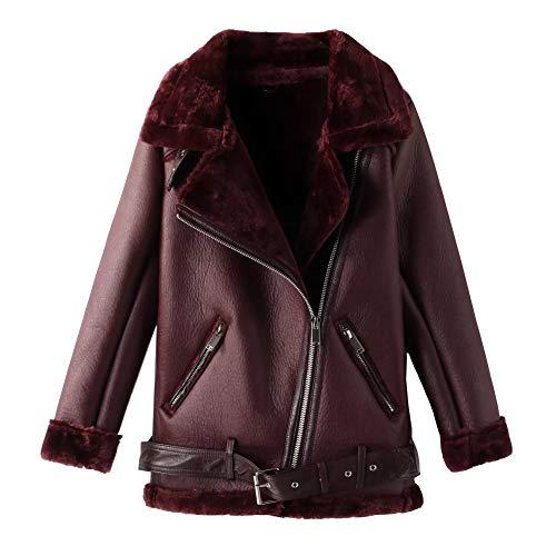 Newbestyle Jacke Damen Übergangsjacken V Ausschnitt Kleidung Mantel Fell Winterjacke Jacket Wintermantel Top Coat mit Schrägem Reißverschluss Wein Rot Small